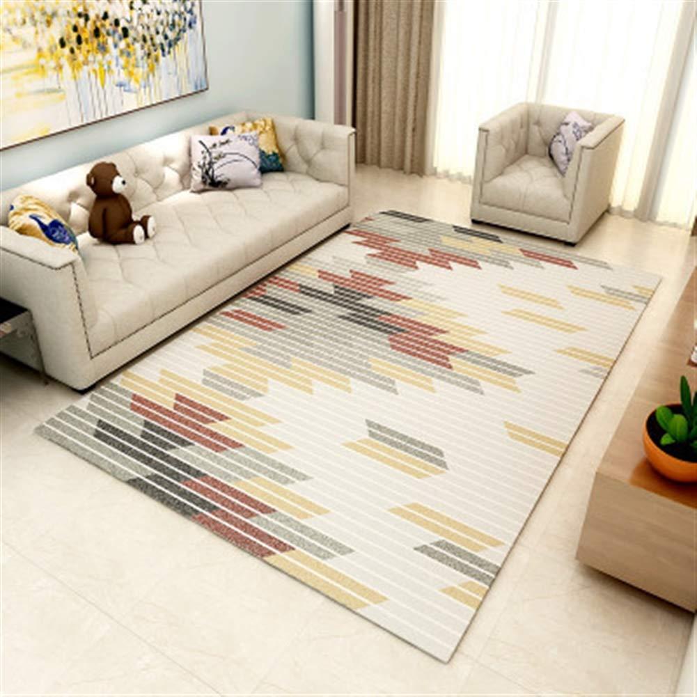 Liveinu Modern Teppich mit Anti-Rutsch Unterstützung Abwaschbarer Abwaschbarer Abwaschbarer Kurzflor Teppich Geometrisch Fußmatten für Wohnzimmer, Esszimmer, Schlafzimmer oder Kinderzimmer 140x200cm d57273