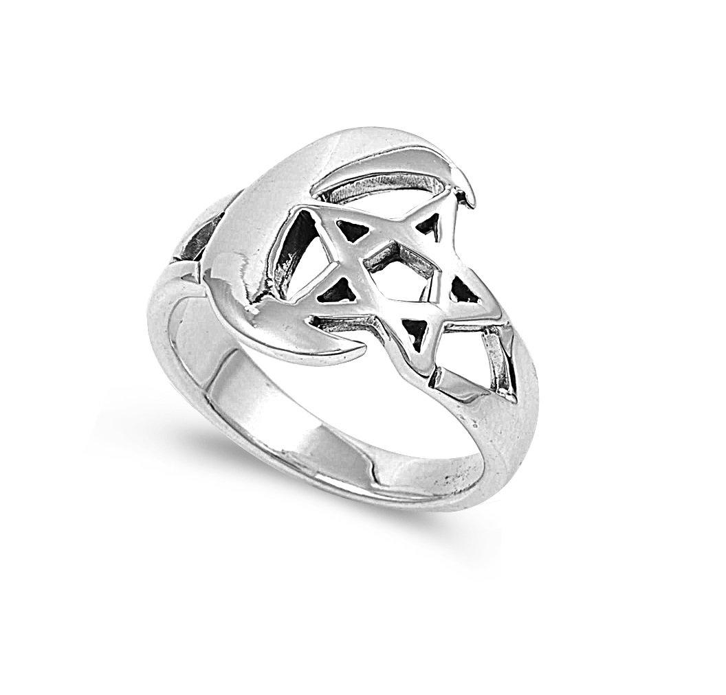 925 Sterling Silver Wicca Feminine Divine Moon Pentagram Ring Size 6