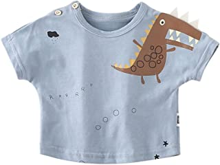 HK Camicia a Maniche Corte con Scollo Tondo Manica Corta Baby t-Shirt da Bambino in Coccodrillo Estivo