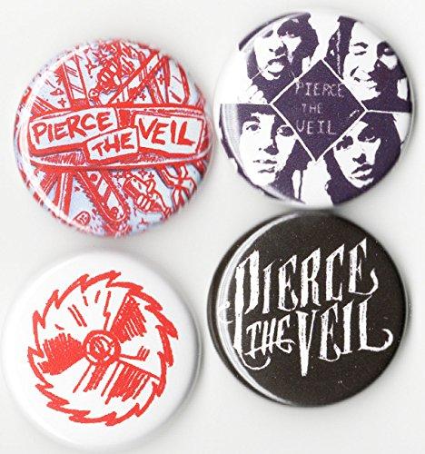 Pierce the Veil Button Set 4pcs pack 1 inch pin back punk hardcore rock emo band
