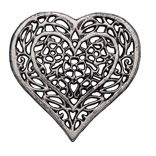 Cast Iron Heart Trivet | Decorative Cast Iron Trivet For Kitchen Or Dining Table | Vintage Design |6.75X6.5