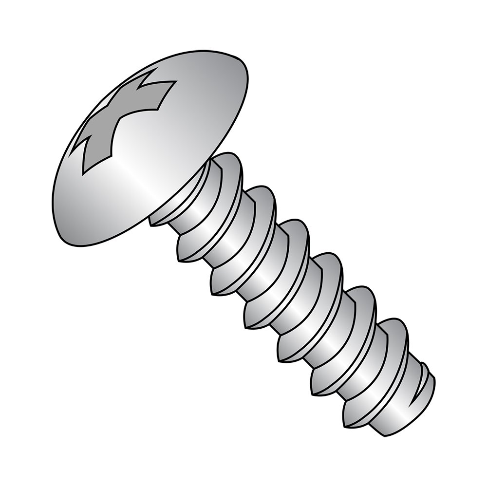Plain Finish Pack of 100 Phillips Drive 3//8 Length 18-8 Stainless Steel Sheet Metal Screw Truss Head Small Parts 0606BPT188 Pack of 100 Type B #6-20 Thread Size 3//8 Length