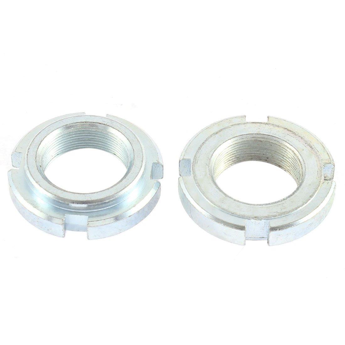 2xSilver Tone 24mm Thread Steering Stem Lock Nut