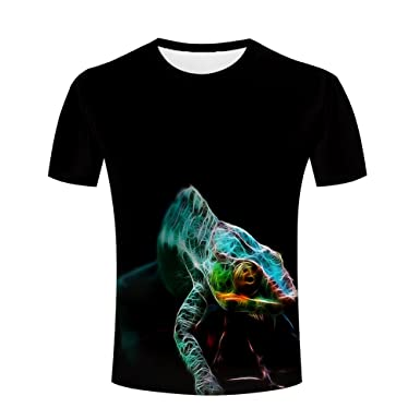 Mens 3D Animal Printed Climbing Chameleon T-shirts Casual Short Sleeve Black Tops Tees S