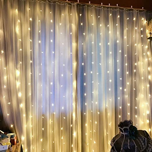 JUNMAONO 3M*3M 300 LED Bulbos Transparente Clip Guirnalda Luces Navidad, Luces Arbol Aavidad