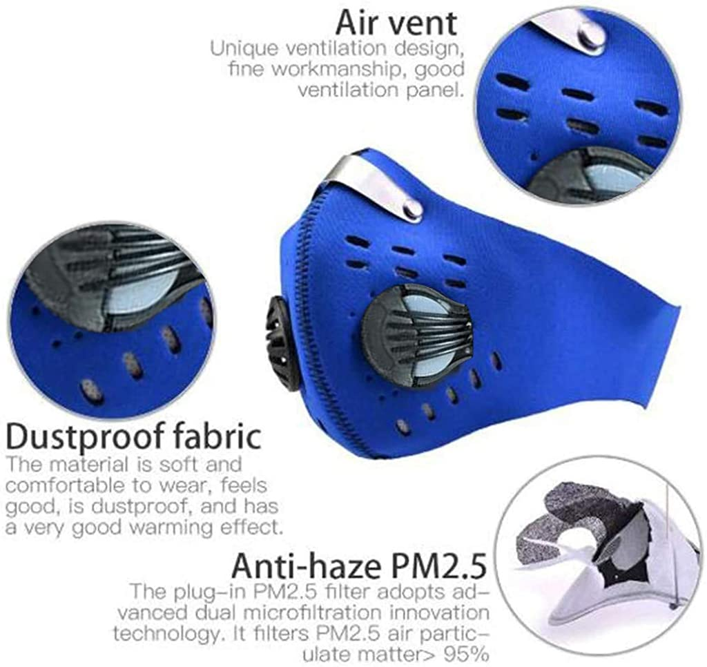 Unisex Face With 2 Carbon Filter Adjustable Face Air Filter Protection Outdoor Sports Zicth