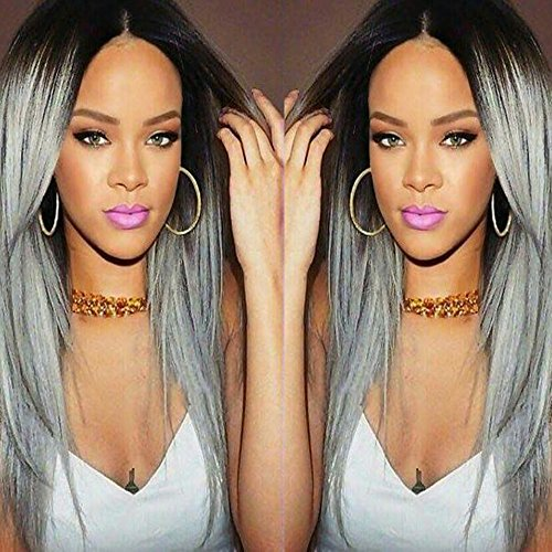 Dreambeauty Silky Straight Synthetic Hair Wigs Brown Rooted Ombre Silver Gray Cheap Long Wigs for Sale