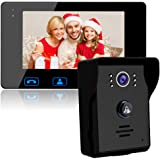 "Video Door Phone Doorbell 2-Wires Video Intercom Monitor 7"" Wired Door Bell Home Security System with Night Vision and Push Button HD Camera"