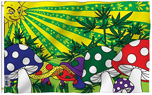Anley  Fly Breeze  3X5 Foot Marijuana Mushroom Flag   Vivid Color And Uv Fade Resistant   Canvas Header And Double Stitched   Weed Shrooms Flags Polyester With Brass Grommets 3 X 5 Ft