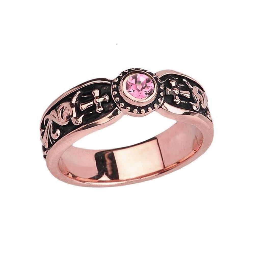 Fine 10k Rose Gold Pink CZ Solitaire Vintage Sideway Cross Wedding Band (Size 5.75)