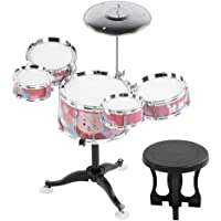 Beat Toy Children Drum Set, Kids Drum Set, Musical Instruments Present for Kids Boys and Girls Gift(Coral red)