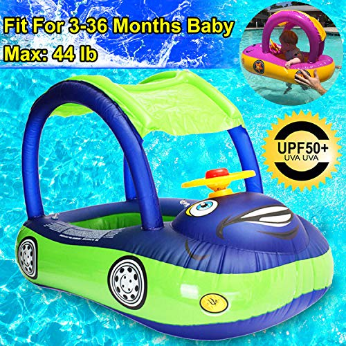 - Baby Swim Float with Canopy, Car Shaped Inflatable Swimming Ring Boat with Sunshade for Boys Girls Toddler Infant Float for Pool Floating Cute Boat Summer Outdoor Play (Fit 3-36 Months, Maximum 44lb)