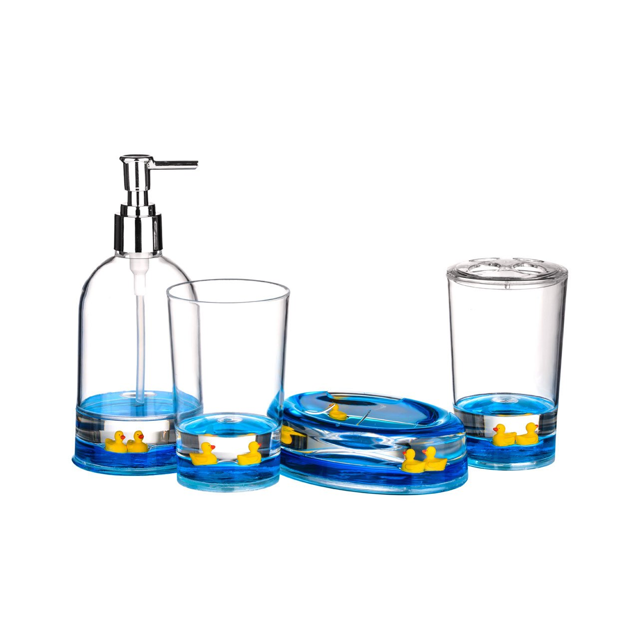 4pc Bathroom Accessories Set Floating Ducks Design Acrylic Finish:  Amazon.co.uk: Kitchen U0026 Home