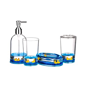4pc Bathroom Accessories Set Floating Ducks Design Acrylic Finish
