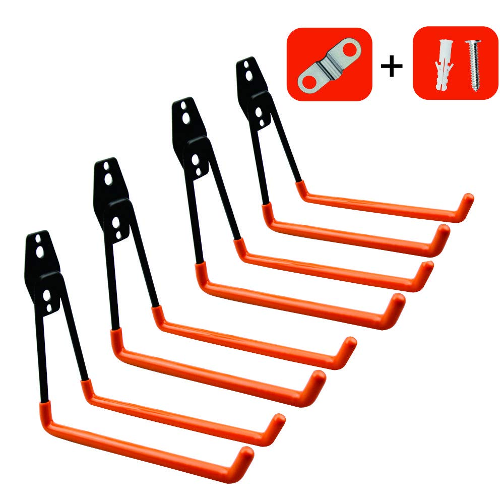 Garage Storage Utility Hooks,Wall Mount&Heavy Duty Garage Hanger & Organizer to Handle Ladder, Hold Chairs,with Premium Steel to Hang Heavy Tools for Up to 55lbs(set of 4)