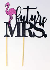 All About Details Flamingo Theme Future Mrs. Cake Topper, 1PC, Bridal Shower, Engagement Party, Wedding, Photo Props (Black & Pink)
