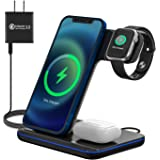 Upgraded Wireless Charging Station, 3-in-1 Wireless Charger Stand for Apple Watch 6/5/4/3/2/1, Airpods Pro/2, iPhone SE II/11