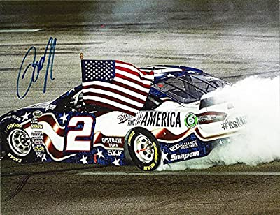 AUTOGRAPHED 2014 Brad Keselowski #2 Miller Lite for America Patriotic KENTUCKY WIN (Burnout) 9X11 Signed NASCAR Glossy Photo with COA
