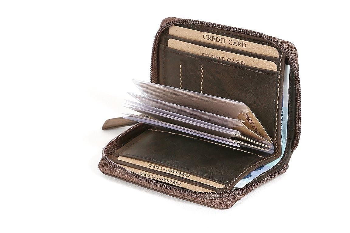 LEAS Porta carte di credito con cerniera e tasca per le fatture formato verticale, Vera Pelle, marrone Vintage-Collection'' LE8227-12-02