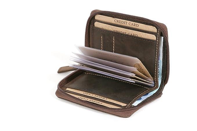 0f30ae2e2f219f LEAS Porta carte di credito con cerniera e tasca per le fatture formato  verticale, Vera