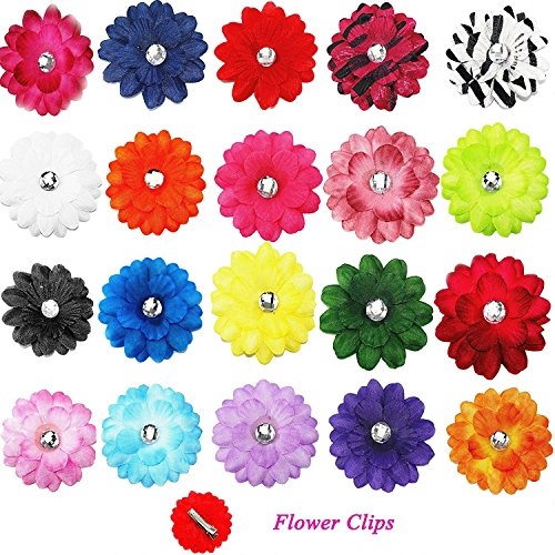 Cellot Alligator Hair Clips for Kids (20-Piece Set) – 2 inches Hair Daisy Flower Hairpins for Children, Teen Girls and Women – Cute Boutique Fashion – Silky, Colorful and Strong Hold