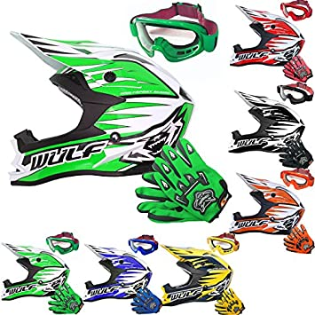 Wulfsport Racing Adult Advance MX Motocross Moto motocicleta casco y leopardo adulto MX Motocross Guantes