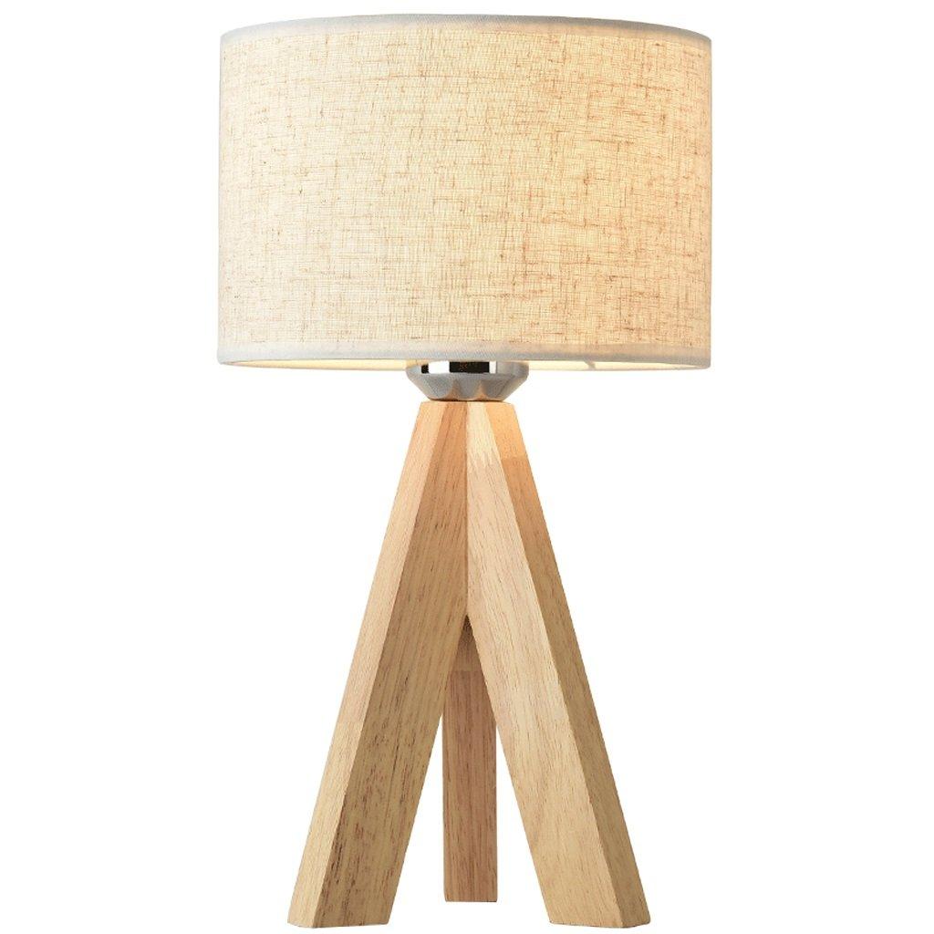 CXQ Moderne Einfache Holz Schreibtischlampe für Arbeitszimmer Wohnzimmer Schlafzimmer Nachttischlampe Weiß Lampenschirm Schreibtischlampe (Größe   Diameter 18 cm)