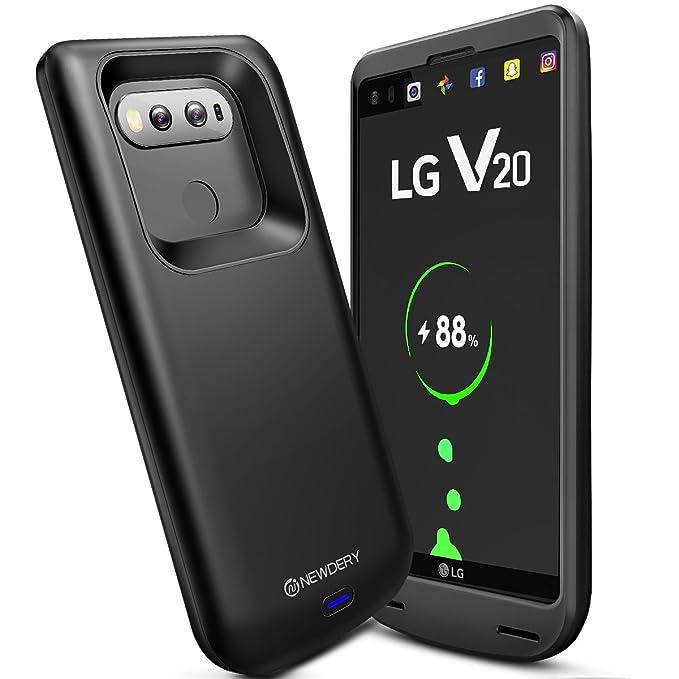Newdery Funda Bateria LG V20, 5000Ah Carcasa Bateria, External Recargable Protector Cargador Power Bank Case para LG V20 Smartphone - negro