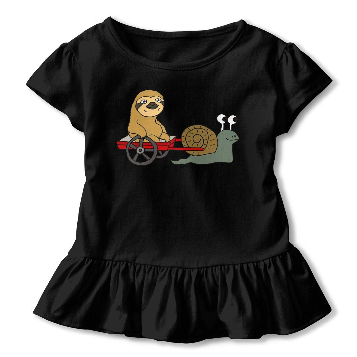 Funny Cool Sloth in Red Wagon Pulled by Snail Toddler//Infant Girls Short Sleeve Ruffles Shirt Tee Jersey for 2-6T