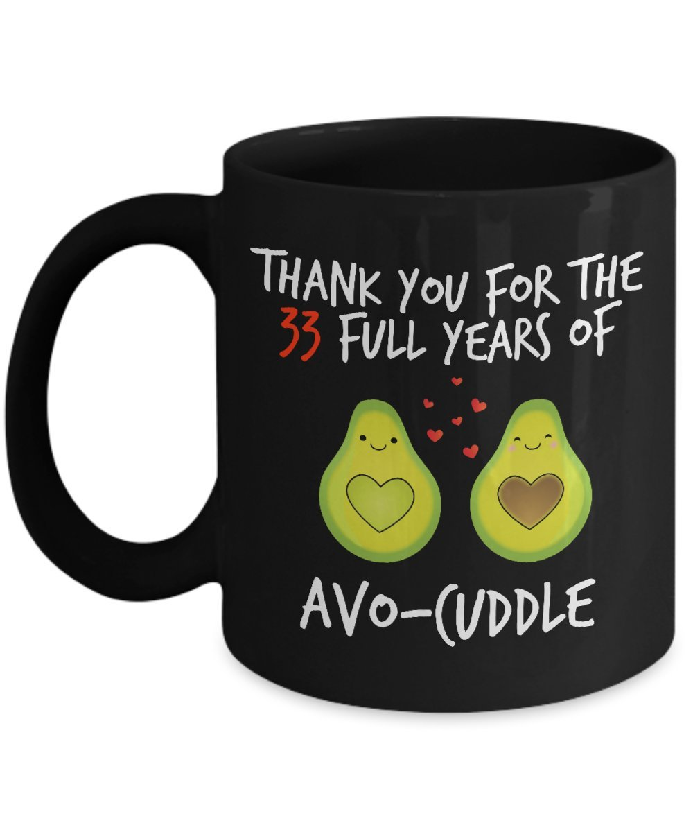 33rd Wedding Anniversary Gifts For Him - Avocuddle - 33 Rd Yr Year Thirty Third Thirty Three Romantic Sexy Black Coffee Mug Cup For Her Men Women Husb
