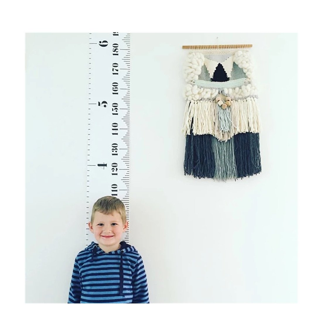 POPUPE Baby Height Growth Chart Hanging Ruler, Kids Room Wall Decor Wood Frame Fabric Ruler, Removable Canvas Large Height Measuring Tape From Birth to Adult 79 x7.9in/20x200cm