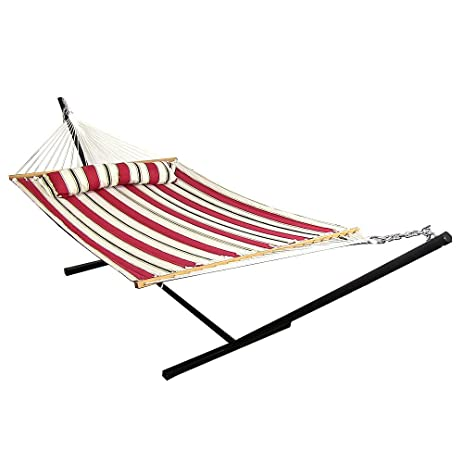 sunnydaze 2 person freestanding quilted fabric spreader bar hammock with 12 foot stand includes amazon     sunnydaze 2 person freestanding quilted fabric      rh   amazon