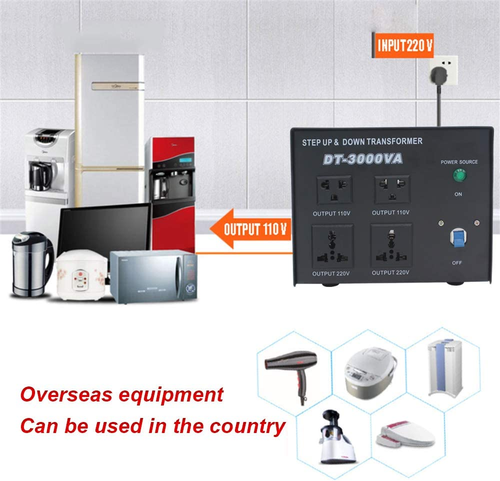 Universal AC Outlets-Circuit Breaker Protection Yinleader Power Converter 3000W Step Up//Down AC 110V//120V//220V//240V Heavy Duty Voltage Transformer Converter w//US Standard