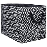 "DII Oversize Woven Paper Storage Basket or Bin, Collapsible & Convenient Home Organization Solution for Office, Bedroom, Closet, Toys, Laundry (Large - 17x12x12""), Black & White Diamond Basketweave"