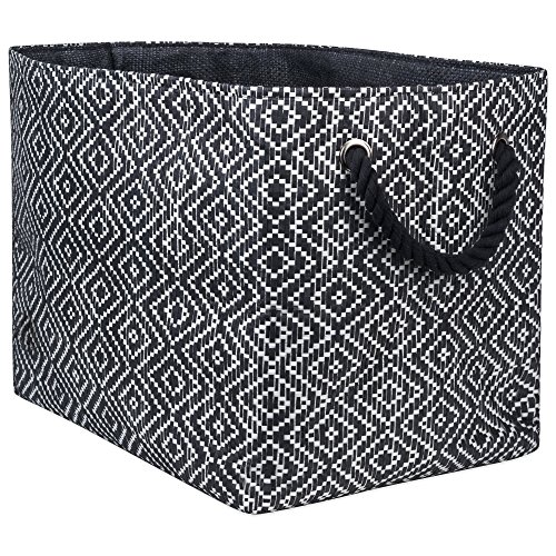 Silver Diamond Basketweave - DII Oversize Woven Paper Storage Basket or Bin, Collapsible & Convenient Home Organization Solution for Office, Bedroom, Closet, Toys, & Laundry(Medium - 15x10x12
