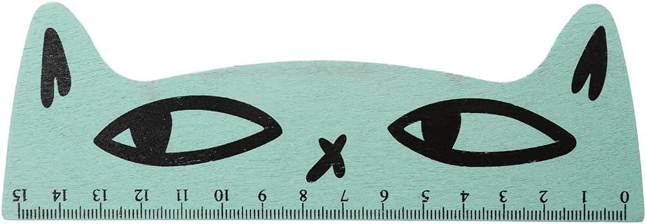 Lamdoo Kawaii - Regla Recta de Madera para Gatos con Dibujos Animados, Madera, Azul, 16cmx6cm/6.30inx2.36in: Amazon.es: Hogar