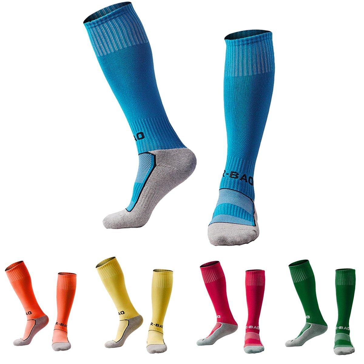 Soccer Socks for Little Boys Girls 5 Pack (Blue/Orange/Yellow/Rose Red/Dark Green) XS by KALAKIDS
