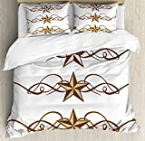 Ambesonne Primitive Country Decor Duvet Cover Set Queen Size, Western Stars Scroll Design Ornate Swirls Antique Artistic, Decorative 3 Piece Bedding Set with 2 Pillow Shams, Brown Light Coffee