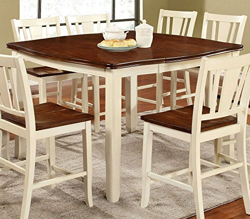 Furniture of America CM3326WC-PT Dover II Extendable Counter Height Table Dining