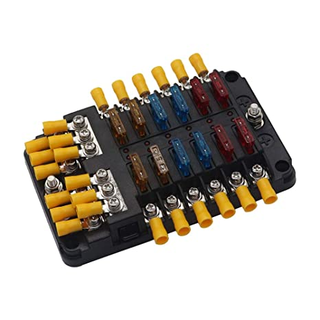12 circuits blade fuse block with negative bus busbar fuse box for boat marine car rv truck 24 wiring connectors  car vehicle circuit blade fuse box