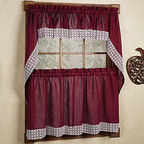 Sweet Home Collection 5 Pc Kitchen Curtain Set - Valance Swag Choice of 24