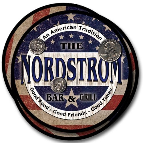 Nordstrom Family Bar and Grill Rubber Drink Coaster Set - Patriotic Design