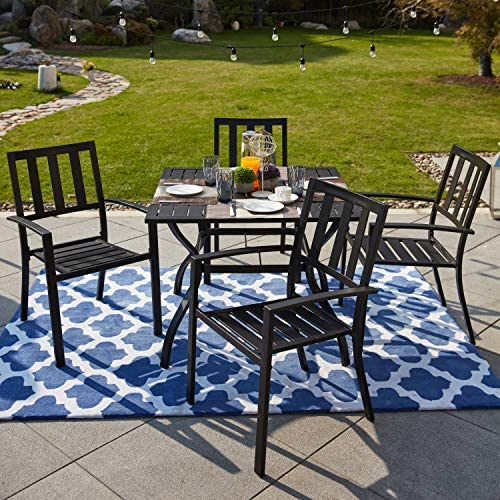 LOKATSE HOME 5 Piece Patio Dining Metal Outdoor Armrest Chairs and 37″ Larger Square Table Set Umbrella Hole 1.57″