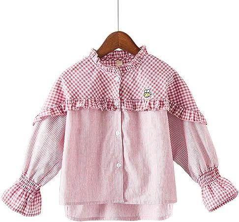 Weentop Camisa de Manga Larga a Cuadros de niña Cuello Redondo con Borde de Hongo Negro (Color : Rosado, tamaño : 110): Amazon.es: Hogar