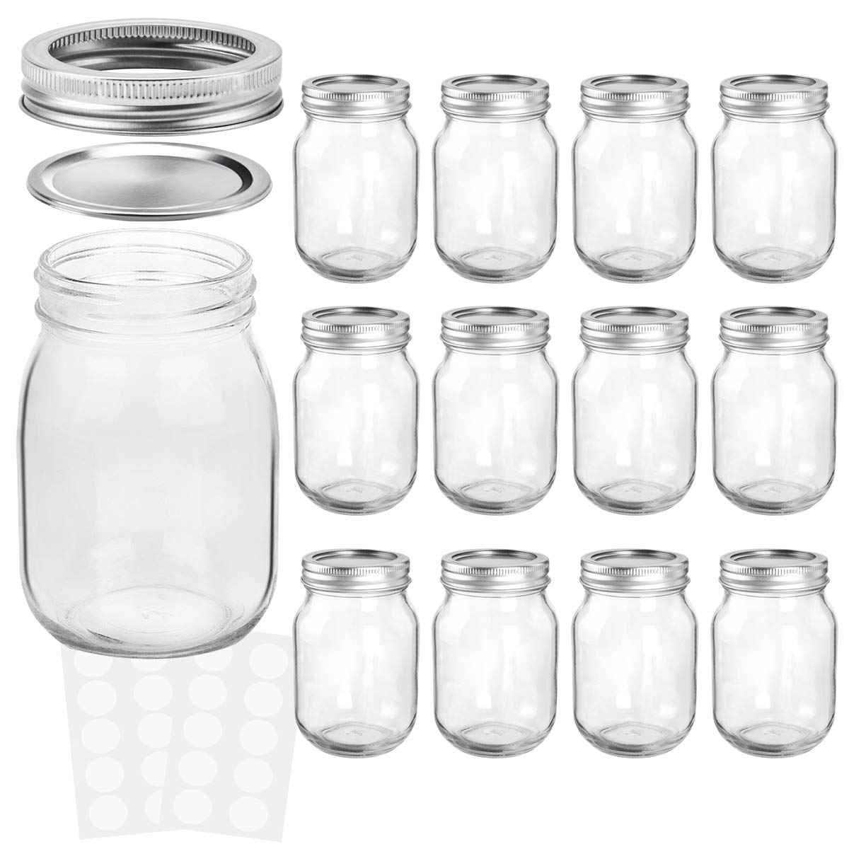 KAMOTA Mason Jars 12OZ With Regular Lids and Bands, Ideal for Jam, Honey, Wedding Favors, Shower Favors, Baby Foods, DIY Magnetic Spice Jars, 12 PACK, 20 Whiteboard Labels Included