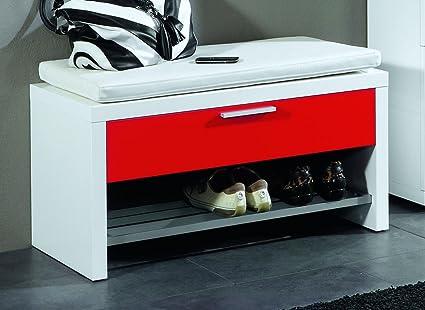 Perchero Banco, 1 cajón; Cuerpo color blanco, cajones rojo ...