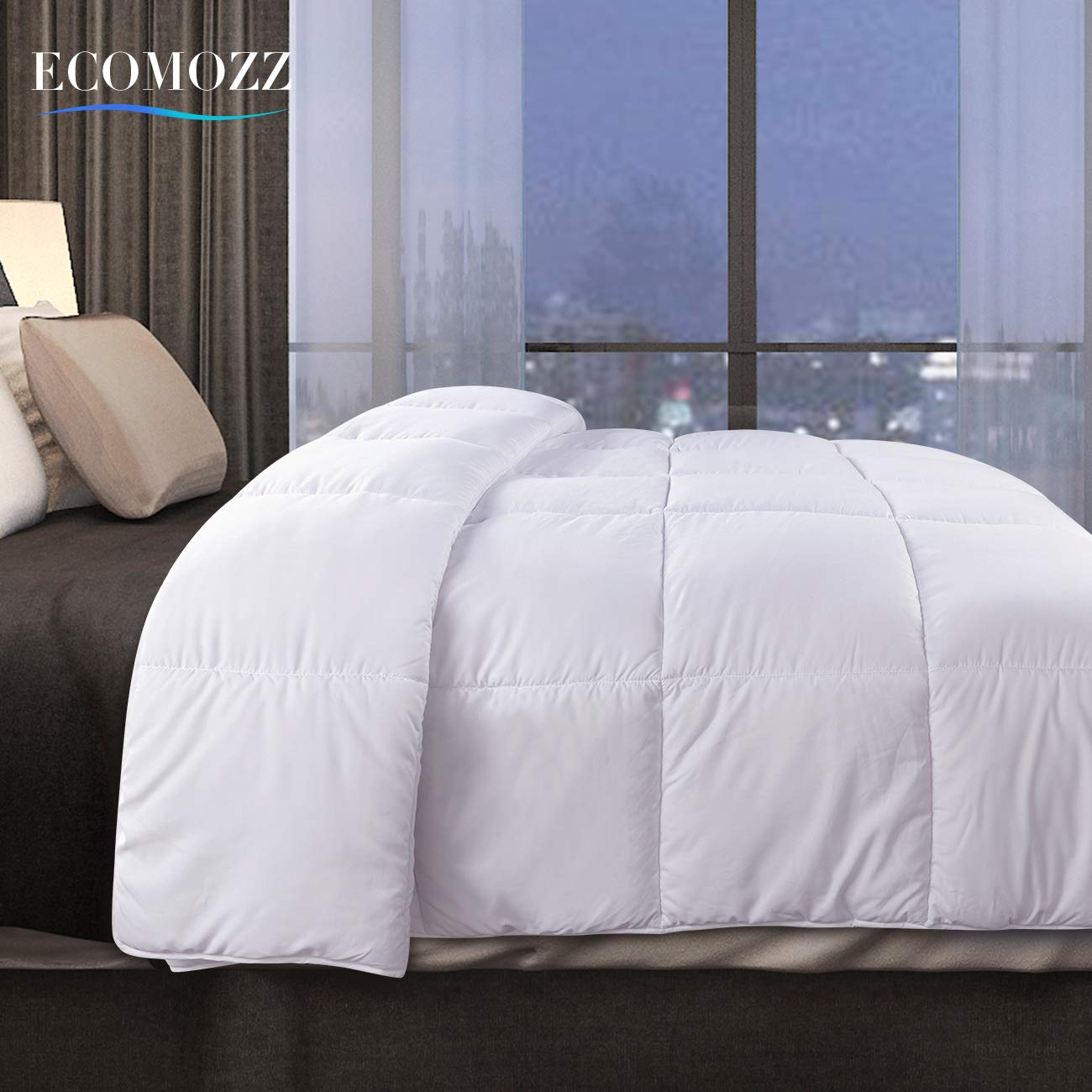 EcoMozz King Comforter with Corner Tabs - All Season Down Alternative Comforter - Soft Warm Quilted Duvet Insert - Hypoallergenic Fluffy Hotel Collection - White by EcoMozz (Image #2)