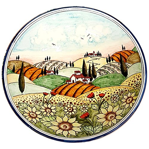 CERAMICHE D'ARTE PARRINI - Italian Ceramic Art Pottery Bowl Plate Decorated Landscape Sunflower Hand Painted Made in ITALY Tuscan