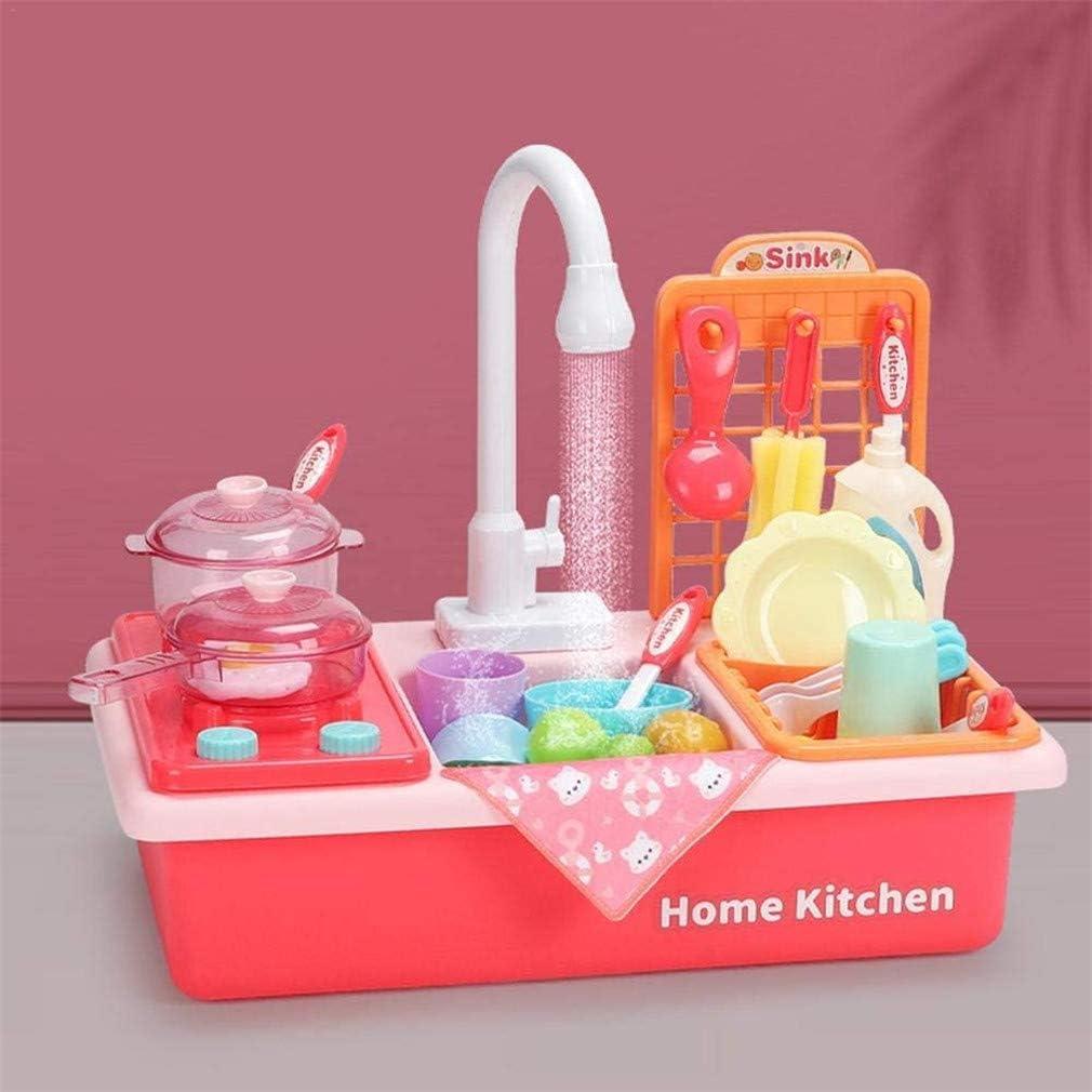 Ulalaza 22 Pezzi Lavello da Cucina per Bambini Giocattoli Lavapiatti Gioco con Acqua Corrente Rubinetti Automatici Casa Fingere Giochi di Ruolo