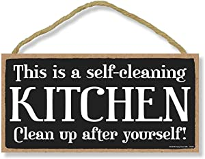 Honey Dew Gifts Kitchen Decor, This is a Self Cleaning Kitchen 5 inch by 10 inch Hanging Wall Art, Decorative Wood Sign Home Decor